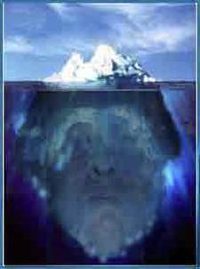 Image of Shakespeare as an iceberg. The face standing in for Shakespeare's is actually me.